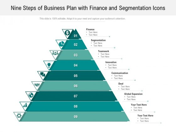 Nine Steps Of Business Plan With Finance And Segmentation Icons Ppt PowerPoint Presentation Gallery Sample PDF