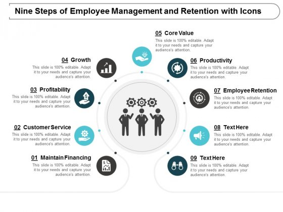 Nine Steps Of Employee Management And Retention With Icons Ppt Powerpoint Presentation Example File