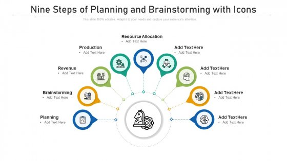 Nine Steps Of Planning And Brainstorming With Icons Ppt Powerpoint Presentation File Example Topics PDF
