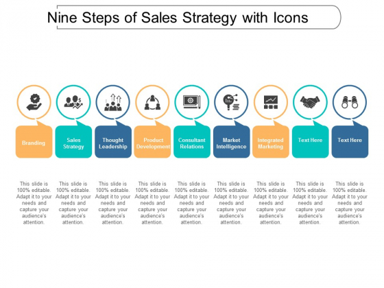 Nine Steps Of Sales Strategy With Icons Ppt Powerpoint Presentation Portfolio Mockup