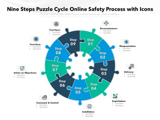 Nine Steps Puzzle Cycle Online Safety Process With Icons Ppt PowerPoint Presentation Professional Structure PDF