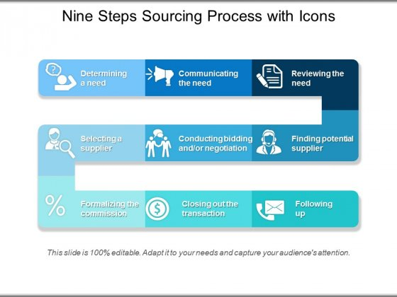 Nine Steps Sourcing Process With Icons Ppt PowerPoint Presentation
