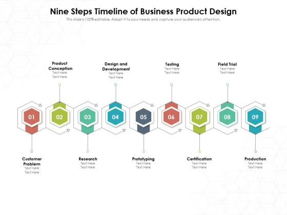 Nine Steps Timeline Of Business Product Design Ppt PowerPoint Presentation File Show PDF