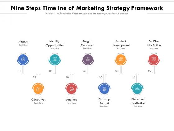 Nine Steps Timeline Of Marketing Strategy Framework Ppt PowerPoint Presentation Gallery Inspiration PDF
