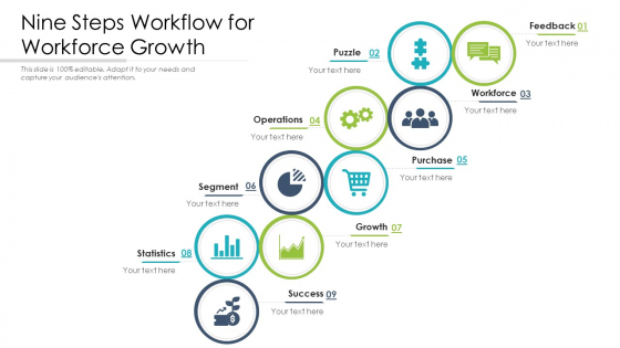 Nine Steps Workflow For Workforce Growth Ppt PowerPoint Presentation File Graphics Download PDF