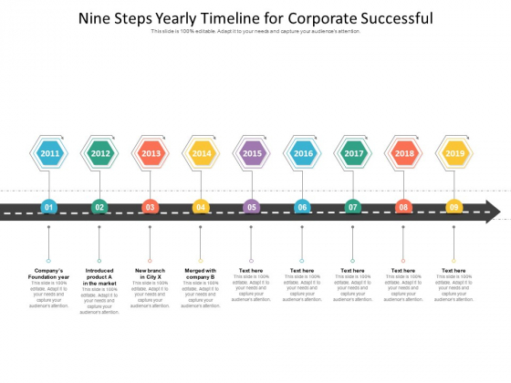 Nine Steps Yearly Timeline For Corporate Successful Ppt PowerPoint Presentation Icon Ideas PDF