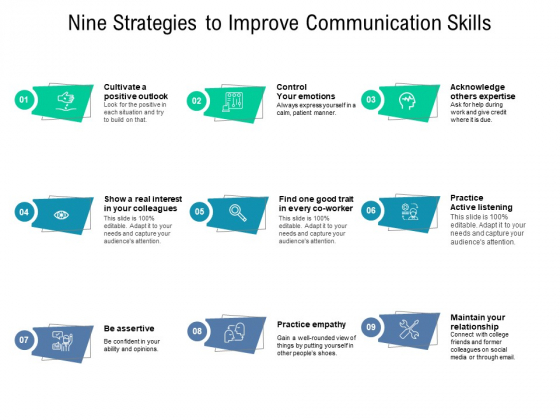 Nine Strategies To Improve Communication Skills Ppt PowerPoint Presentation Layouts Maker