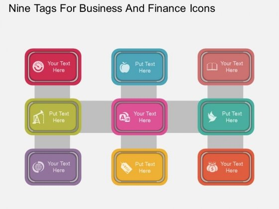 Nine Tags With Business And Finance Icons Powerpoint Template