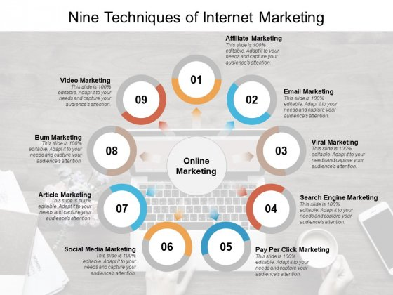 Nine Techniques Of Internet Marketing Ppt PowerPoint Presentation Layouts Designs