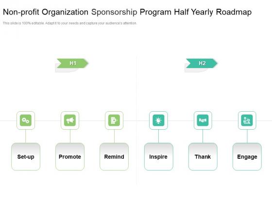 Non Profit Organization Sponsorship Program Half Yearly Roadmap Elements