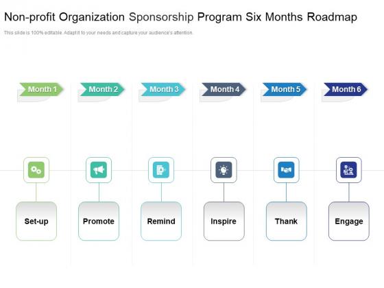 Non_Profit_Organization_Sponsorship_Program_Six_Months_Roadmap_Graphics_Slide_1