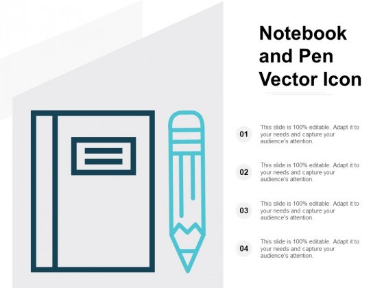 Notebook And Pen Vector Icon Ppt PowerPoint Presentation Portfolio Example