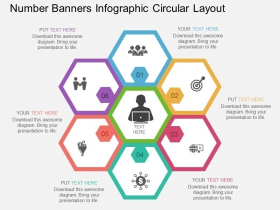 Number Banners Infographic Circular Layout Powerpoint Template