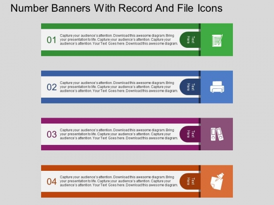 Number Banners With Record And File Icons Powerpoint Template