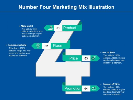 Number Four Marketing Mix Illustration Ppt PowerPoint Presentation Model Example Introduction PDF