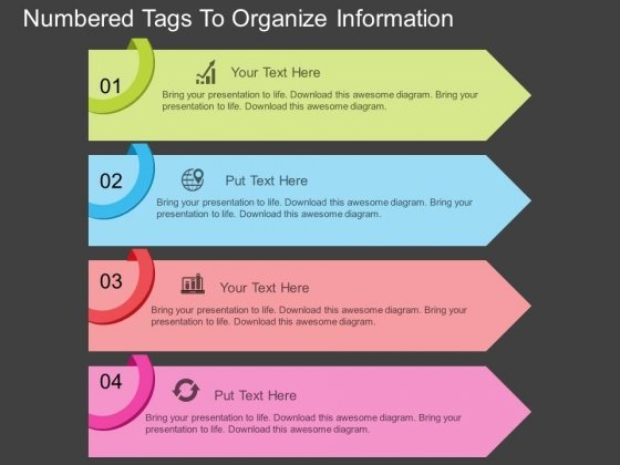 Numbered Tags To Organize Information Powerpoint Template