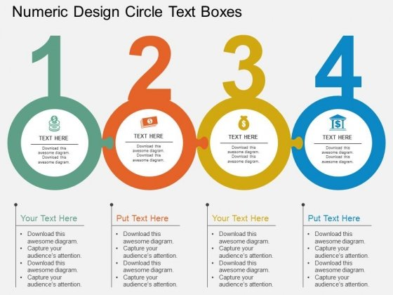 Numeric Design Circle Text Boxes Powerpoint Template