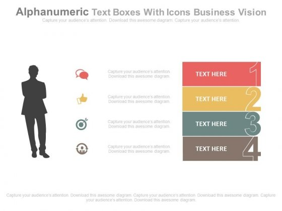 Numeric Text Boxes With Icons Business Planning PowerPoint Slides