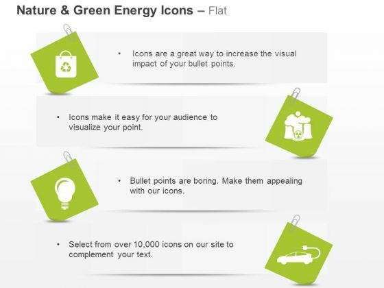 Nature Green Energy Icons For Car And Bulb Wiyh Recycle Symbol Ppt Slides Graphics