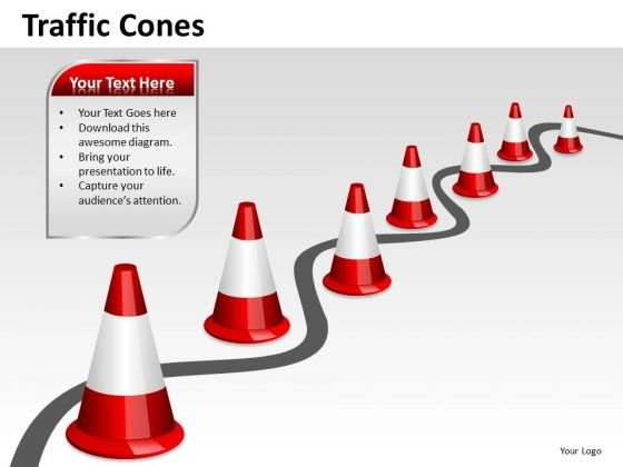 Navigating Obstacles PowerPoint Slides Traffic Cones Ppt Templates