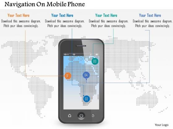 Navigation On Mobile Phone PowerPoint Template