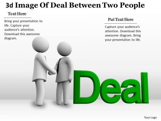 New Business Strategy 3d Image Of Deal Between Two People Concept Statement