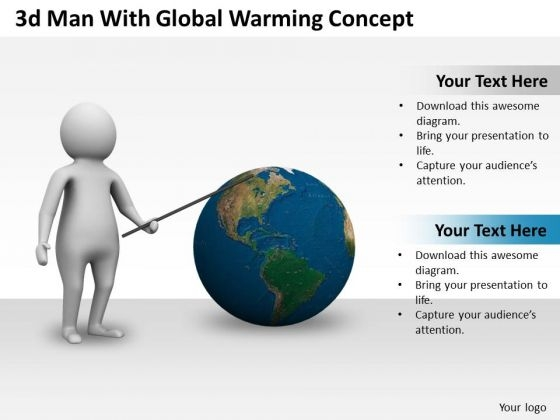 New Business Strategy 3d Man With Global Warming Concept Characters