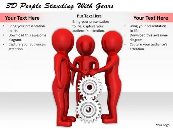New Business Strategy 3d People Standing With Gears Adaptable Concepts