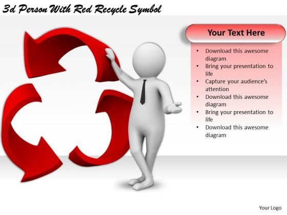 New Business Strategy 3d Person With Red Recycle Symbol Concepts