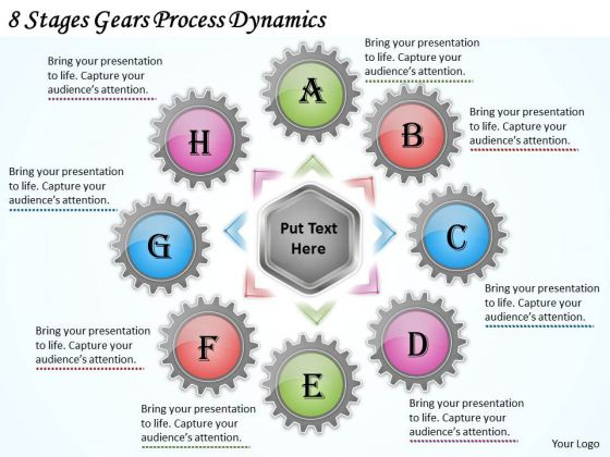 New Business Strategy 8 Stages Gears Process Dynamics Strategic Plan Template Ppt Slide