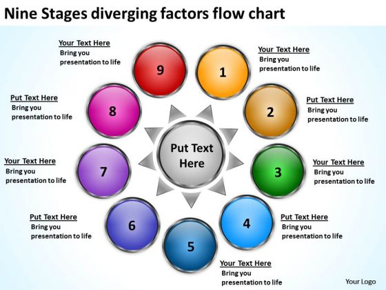 Nine Stages Diverging Factors Flow Chart Arrows Network Software PowerPoint Templates