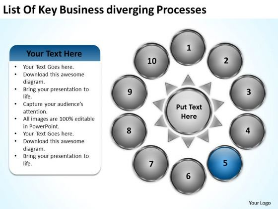 Nine Stages Diverging Factors Flow Chart Business Circular Spoke PowerPoint Templates