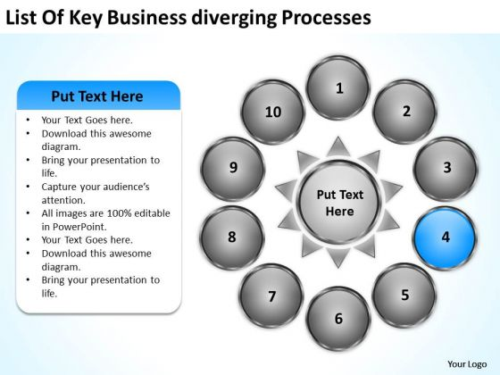 Nine Stages Diverging Factors Flow Chart Gear Circular Spoke PowerPoint Templates