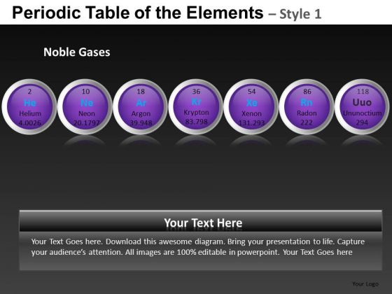Noble Gases Periodic Table Of The Elements PowerPoint Slides And Ppt Diagram Templates