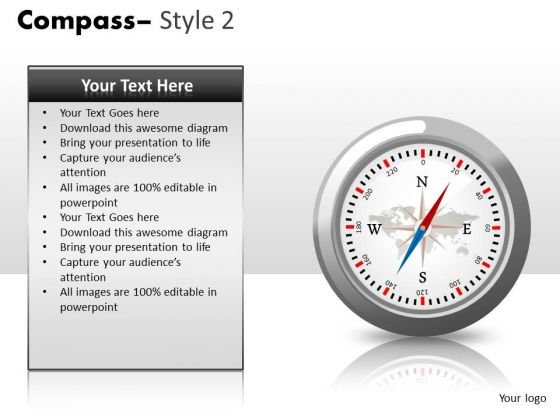 North South East West Compass PowerPoint Slides And Compass PowerPoint Templates
