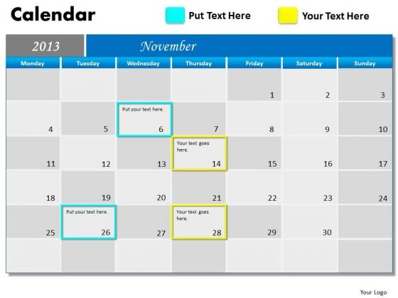 November 2013 Calendar PowerPoint Slides Ppt Templates