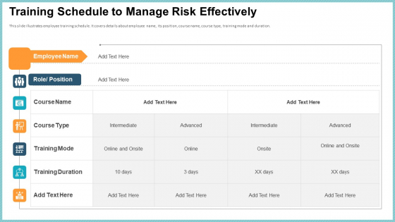 OP Risk Management Training Schedule To Manage Risk Effectively Designs PDF