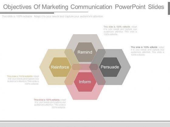 marketing communication objectives Marketing communications (mc, marcom(s), marcomm(s)) uses different marketing channels and tools in combination: marketing communication channels focuses on any way a business communicates a message to its desired market, or the market in general.
