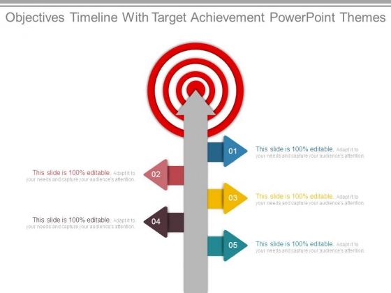 Objectives Timeline With Target Achievement Powerpoint Themes