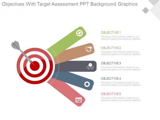 Objectives With Target Assessment Ppt Background Graphics