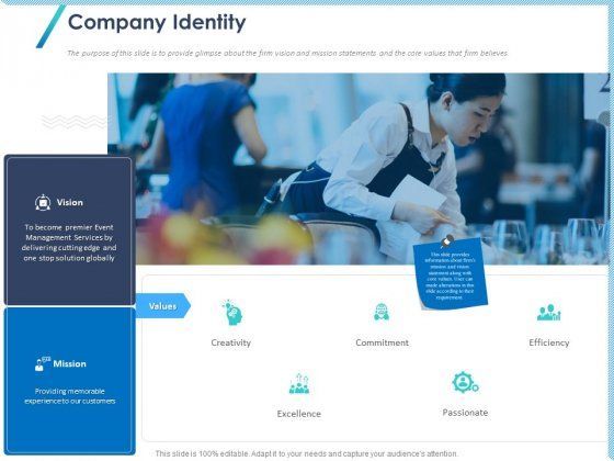 Occasion Planning Firm Overview Company Identity Ppt Slides Examples PDF