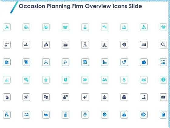 Occasion Planning Firm Overview Icons Slide Ppt Gallery Format Ideas PDF