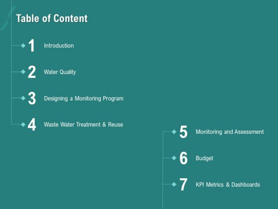 Ocean Water Supervision Table Of Content Ppt Infographic Template Master Slide PDF