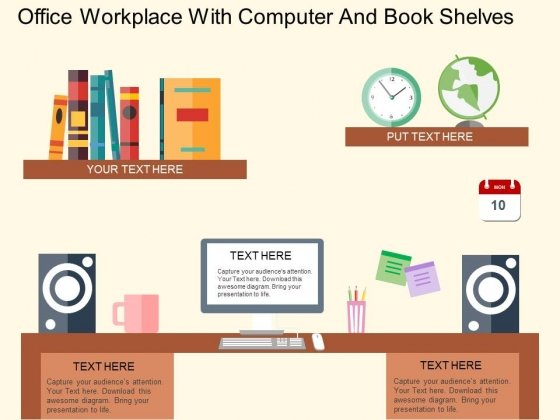 Office Workplace With Computer And Book Shelves Powerpoint Templates