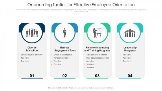 Onboarding Tactics For Effective Employee Orientation Ppt PowerPoint Presentation Gallery Structure PDF