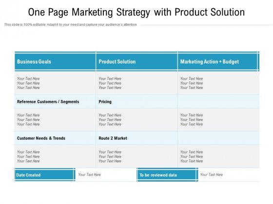 One Page Marketing Strategy With Product Solution Ppt PowerPoint Presentation Icon Pictures PDF