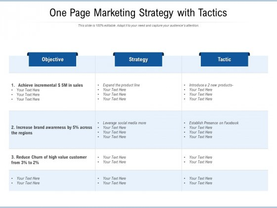 One Page Marketing Strategy With Tactics Ppt PowerPoint Presentation Gallery Templates PDF