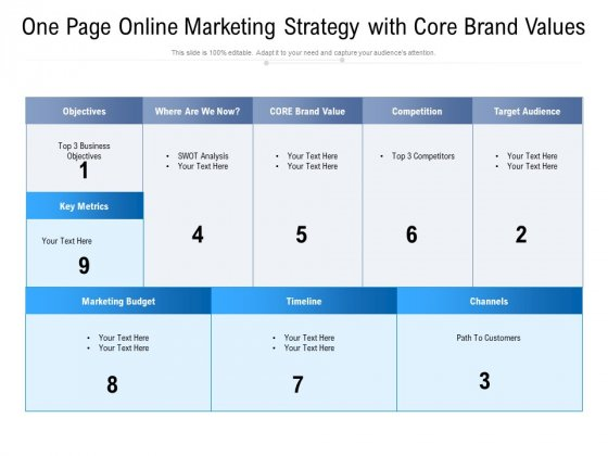 One Page Online Marketing Strategy With Core Brand Values Ppt PowerPoint Presentation File Guide PDF