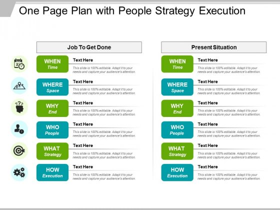 One Page Plan With People Strategy Execution Ppt PowerPoint Presentation Show Example File PDF