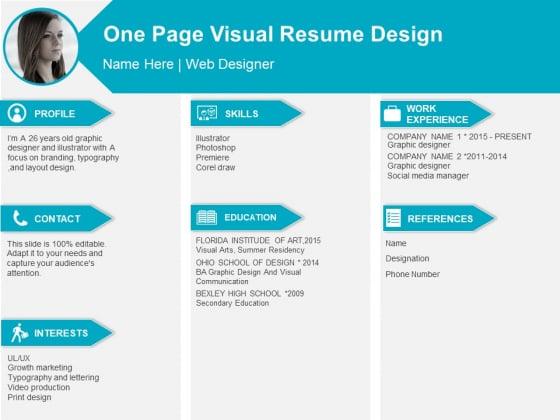 One Page Visual Resume Design Ppt PowerPoint Presentation Portfolio Design Ideas PDF